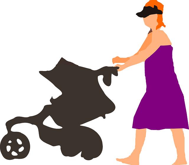 žena s kočárkem ilustrace