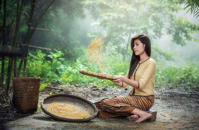 žena s rýží